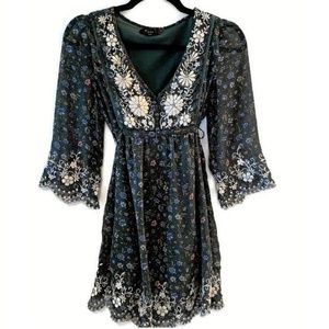 XXI Green Floral Embroidered Dress ~ Forever 21 S